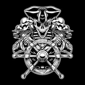 Скелет пират в море