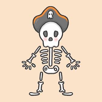 Skeleton pirate halloween hand drawn cartoon style vector