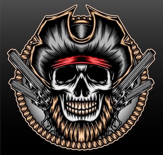 Skeleton pirate head isolated on black
