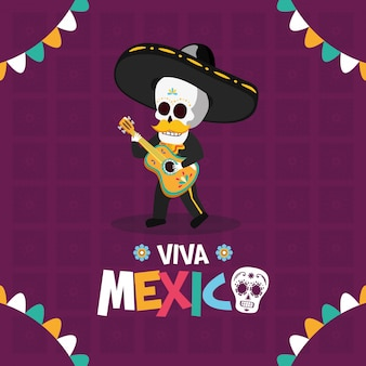 Skeleton playing guitar for viva mexico