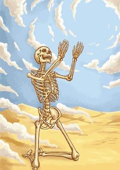 Skeleton prayer on the desert and blue sky.