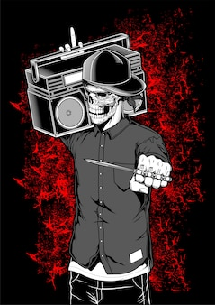 Skeleton rapper holding boombox vector illustration