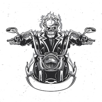 Skeleton riding on the motorcycle.