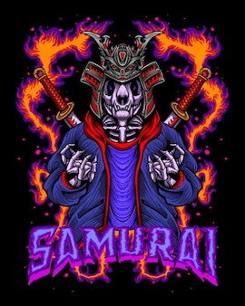 Skeleton samurai with hype beast outfit
