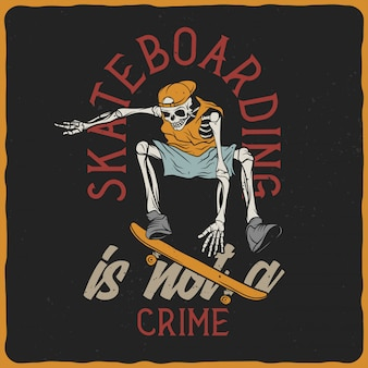 Skeleton on the skateboard
