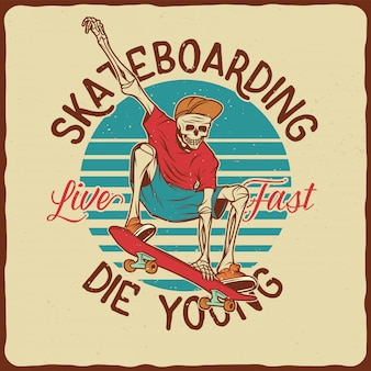 Skeleton on the skateboard