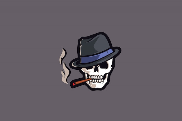 Skeleton smoke e sports logo