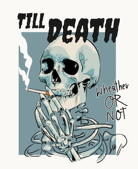 Skeleton smoking cigarrete cartoon illustration