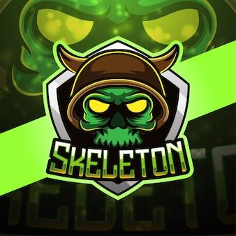 Skeleton sport mascot logo design