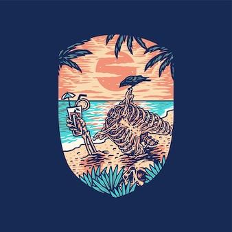 Скелет летний пляж, рисованной стиль линии с цифровым цветом, иллюстрация