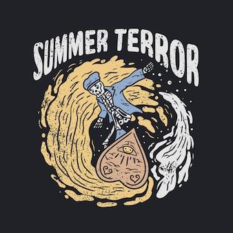 Tシャツのスケルトンサーフイラスト
