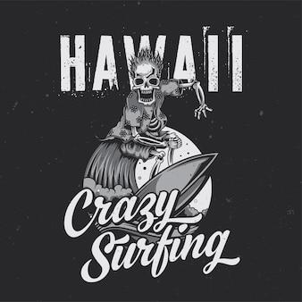 Skeleton on surfing board illustration poster