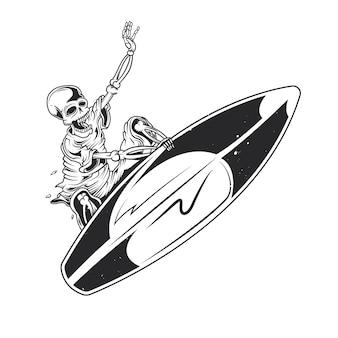 Scheletro a bordo di surf
