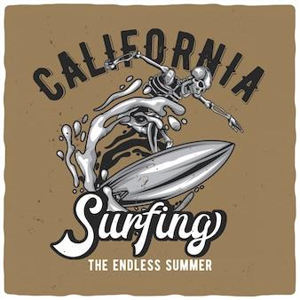 Skeleton on surfing board