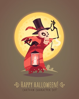 Skeleton in a top hat with candle lamp. halloween cartoon character concept.  illustration.