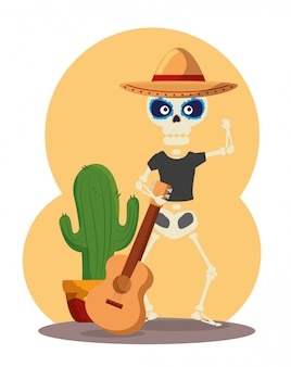 Skeleton wearing hat with guitar and cactus plant