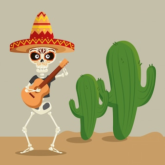 Skeleton wearing hat with guitar to celebrate event