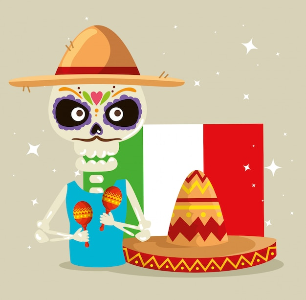 Skeleton wearing hat with maracas and mexico flag