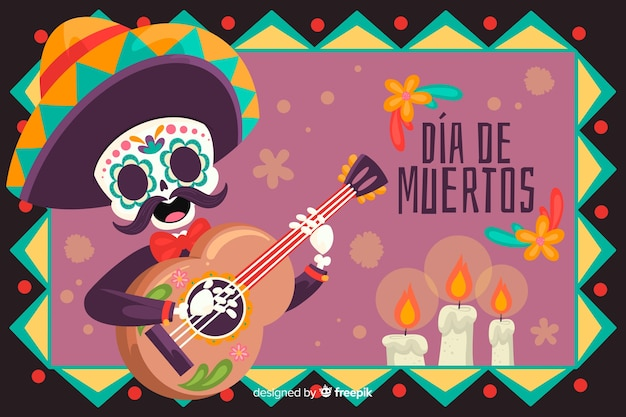Skeleton with guitar and sombrero background