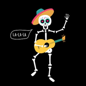 Skeleton with guitar and speech bubble lalala illustration of a holiday for the day of the dead