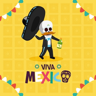 Skeleton with hat and tequila for viva mexico