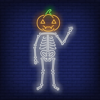 Skeleton with pumpkin head neon sign