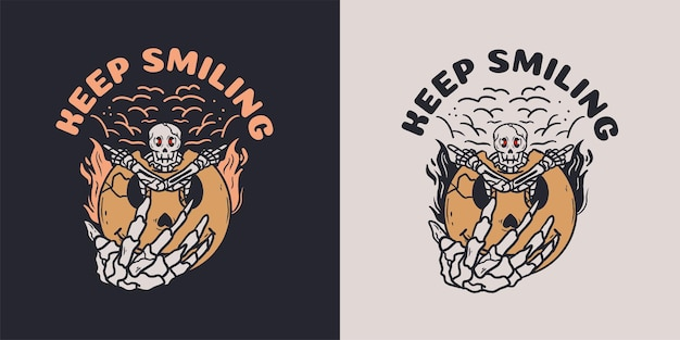 Tshirt에 대한 미소 이모티콘 일러스트와 함께 해골