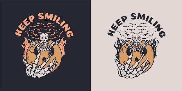 Skeleton with smile emoticon illustration for tshirt Premium Vector