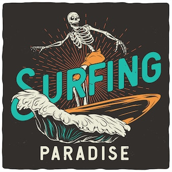 Skeleton with surfing board