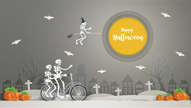 Skeletons riding a broom on the sky and skeletons riding bicycle on gray grass go to party. happy halloween concept.