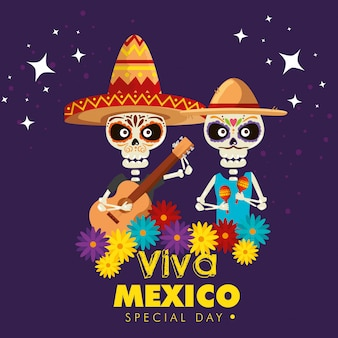 Skeletons wearing hat with guitar and maracas