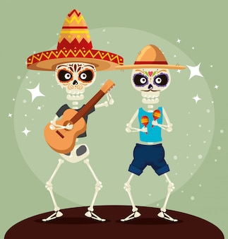 Skeletons with guitar and maracas for event celebration