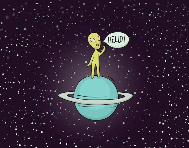 Sketch of alien with word hello.