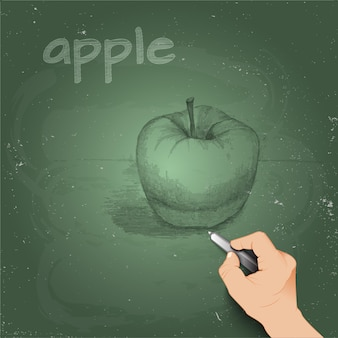 Sketch apple made with chalk on a blackboard by 3d hand