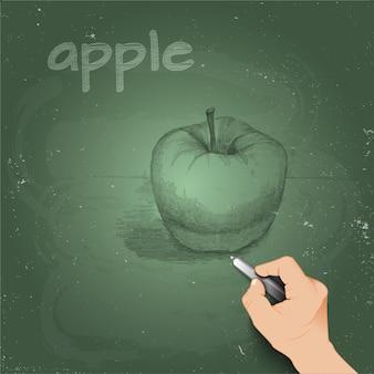 3dの手で黒板にチョークで作ったリンゴをスケッチします。
