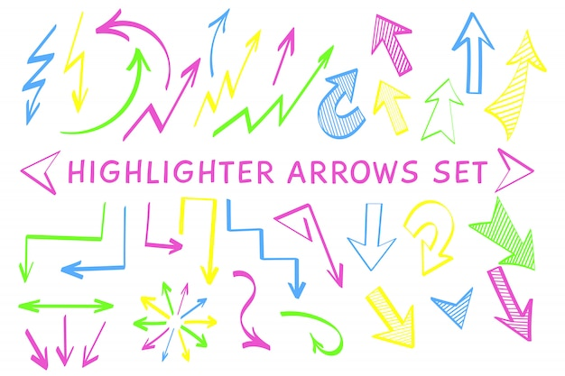 Sketch arrow pointer highlight marker set