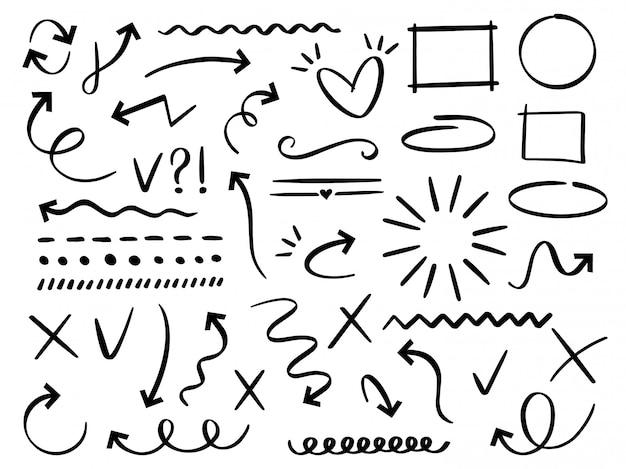 화살표와 프레임을 스케치하십시오. 손으로 그린 화살표, 낙서 분배기 및 원형, 타원형 및 사각형 프레임 세트. 다른 추상 상징의 컬렉션입니다. 점선과 곡선. 낙서 요소