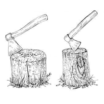 木の切り株に引っかかっている斧をスケッチします。手描きの大きな古い斧。木の質感。ハイキングやキャンプの手描きイラストをスケッチします。