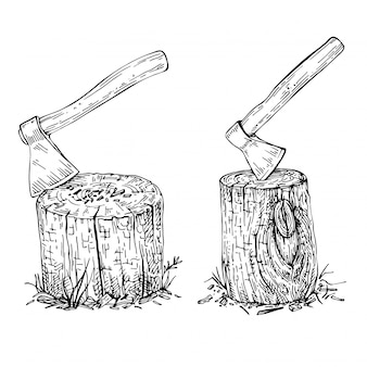 Sketch ax stuck in a wooden stump. hand drawn large old ax .wood texture. sketch hike and camping hand drawn illustration.