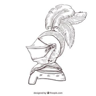 Sketch sfondo elegante casco di corazza