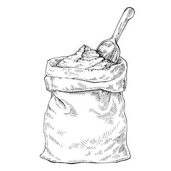 Эскиз мешок с мукой, солью, сахаром и деревянной ложкой. рисованной иллюстрации.