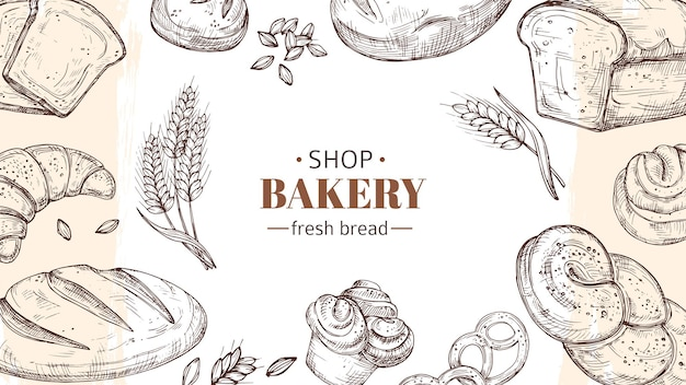 Sketch bakery background. bread, fresh buns and rolls, wheat ears banner. fresh food shop or cafe vector illustration. sketch bakery, food bread and croissant