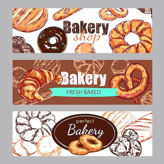 Sketch bakery banner set