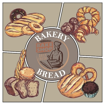 Sketch bakery products concept with bread french baguette croissant bagel donut muffin pretzel and bake shop emblem