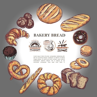 Sketch bakery products round composition with bread french baguette croissant pretzel muffin donut bagels and bakehouse badges