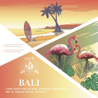 Sketch bali vacation template with flamingos monstera and palm leaves tropical beach landscape