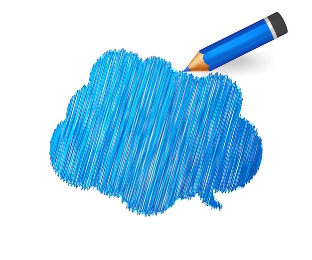만화 파란 연필로 그린 스케치 배너