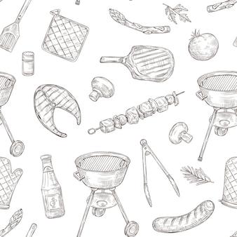 バーベキューチキングリル野菜炒めステーキ肉ピクニックパーティーをスケッチします。
