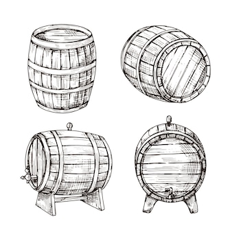 Sketch barrels. whiskey oak casks. wooden wine barrel in vintage engraving style. bar, pub and brewery