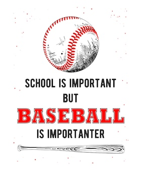 Sketch of baseball ball and bat with typography